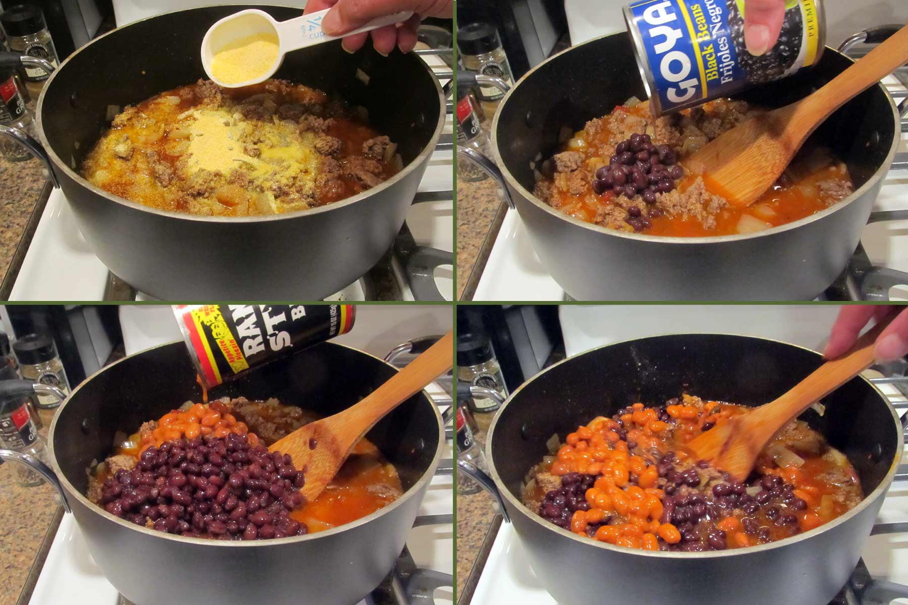 Adding Cornmeal and Beans to the Chili
