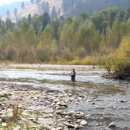 Walking, Wading and fishing for Idaho salmon